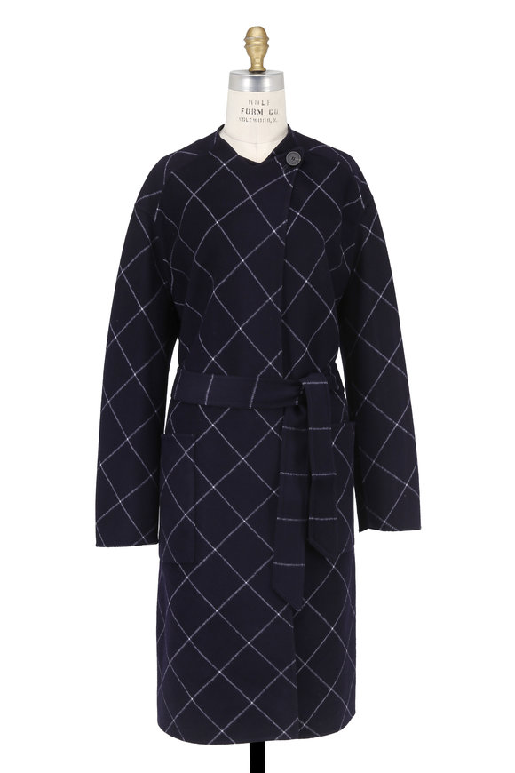 Armani Collezioni Navy Double-Faced Wool Windowpane Belted Coat