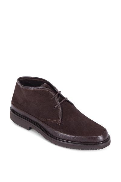 Ermenegildo Zegna - Dark Brown Suede Lace-Up Boot