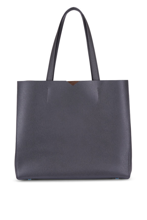 Valextra Dark Grey Large Soft Carryall Tote