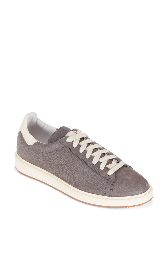 Brunello Cucinelli Grey Pebbled Leather Sneaker