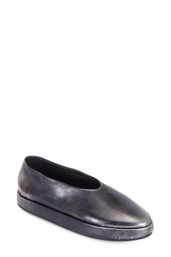 Marsell Silver Distressed Leather Wedge Ballet Loafer