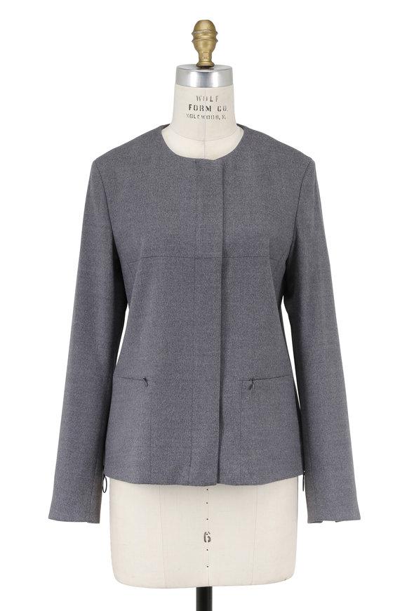 Akris Punto Stone Wool Concealed Zip Collarless Jacket