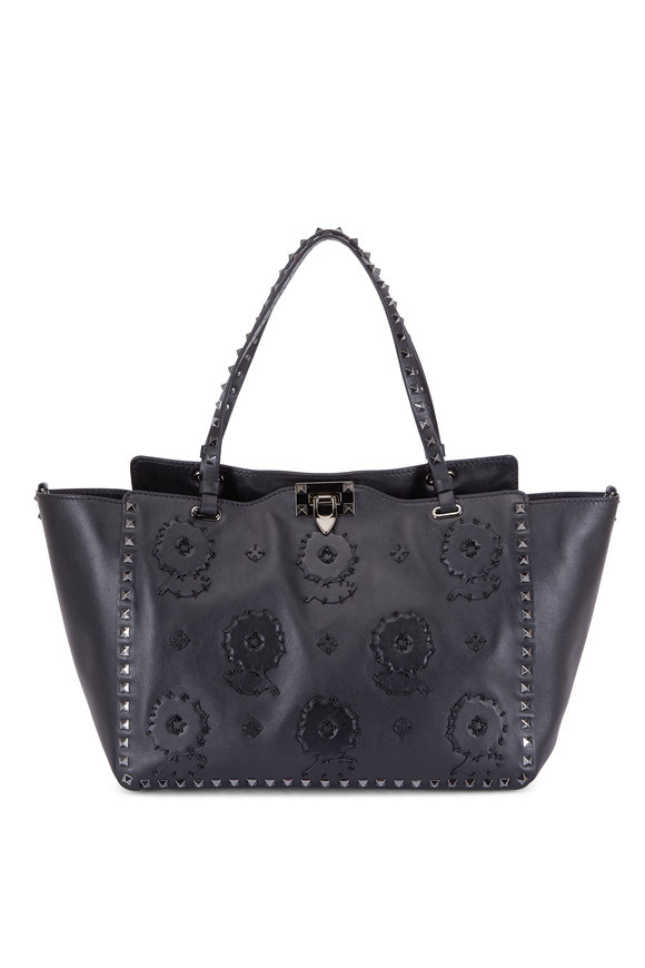 Valentino Rockstud Black Floral Appliqué Medium Tote