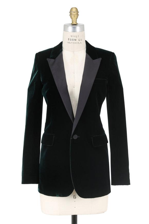 Saint Laurent Emerald Velvet Peak Lapel Jacket
