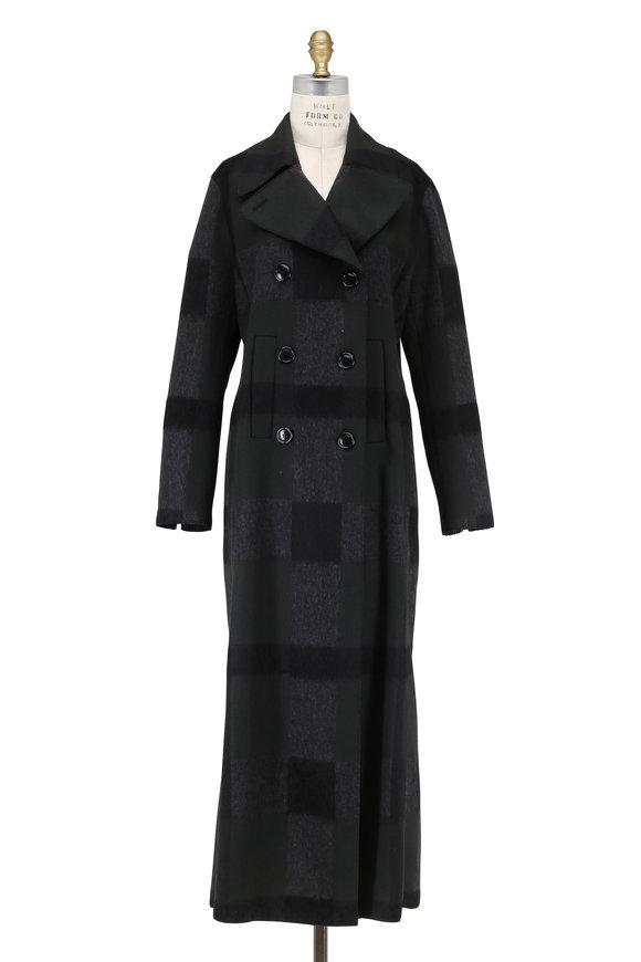 Akris Mabelle Shadow Black Wool Plaid Long Coat
