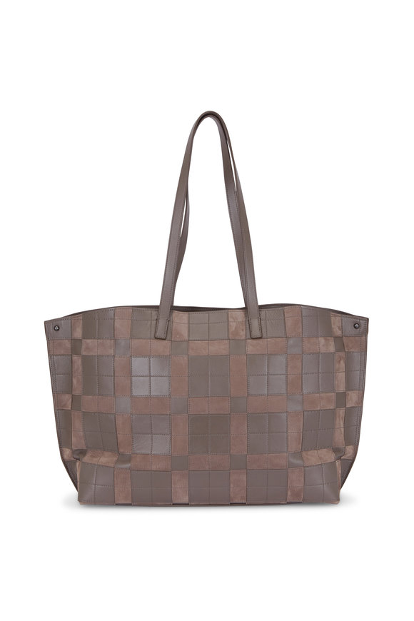 Akris Ai Leather & Suede Square Patch Tote