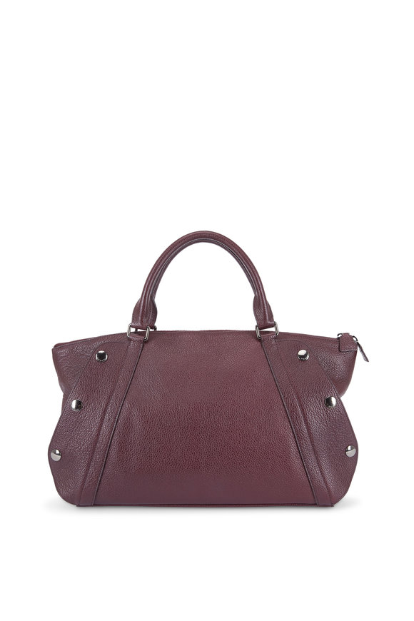 Akris Aimee Burgundy Leather Convertible Satchel