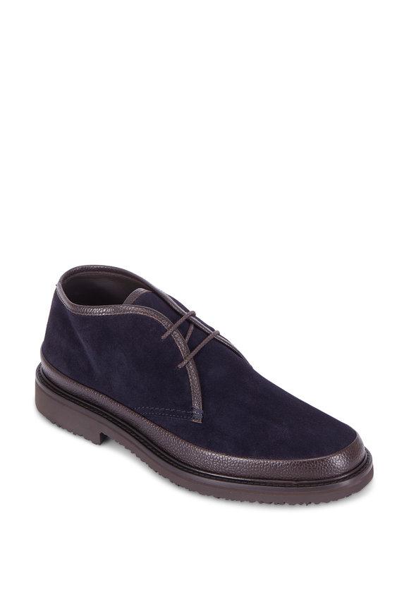 Ermenegildo Zegna Navy Blue Suede & Brown Leather Chukka Boot