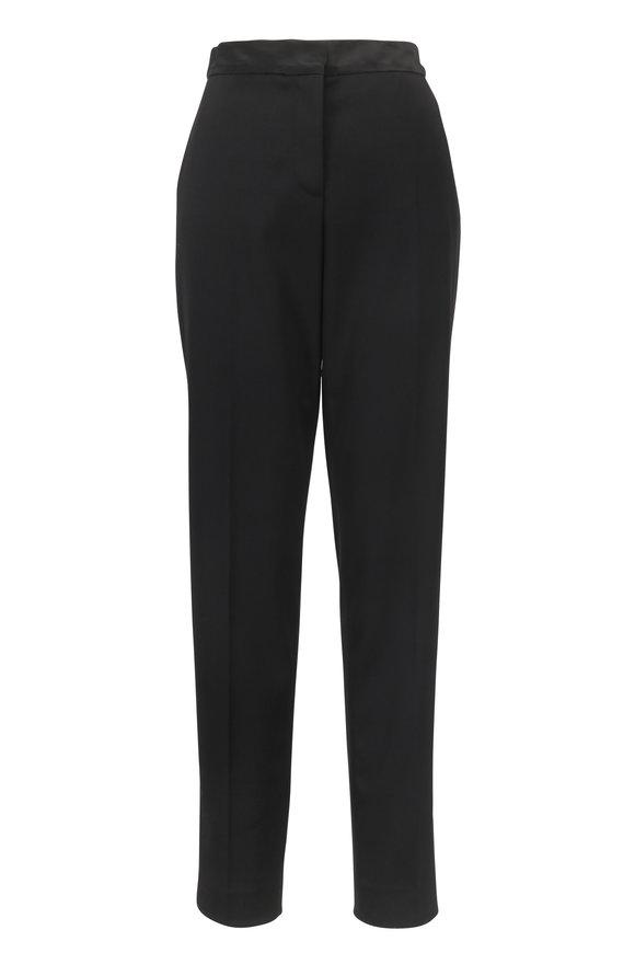Oscar de la Renta Black Wool Tux Detail Pant