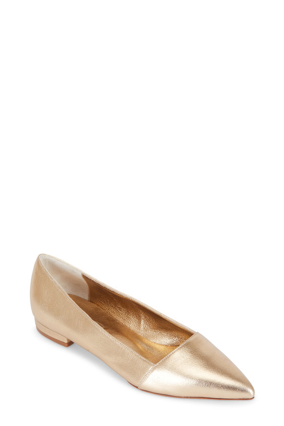 Oscar de la Renta Gold Leather Pointed Flat