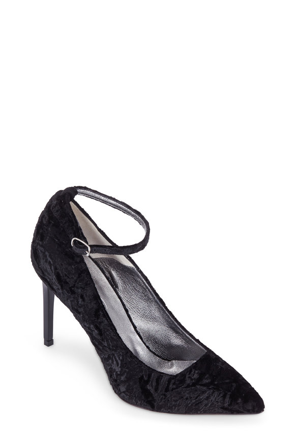 Oscar de la Renta Black Crushed Velvet Ankle Strap Pump, 90mm