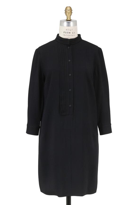 Partow Miles Black Crêpe Pleated Placket Dress