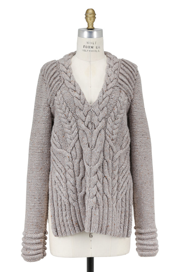 Partow Otto Fog Open Weave Back Sweater