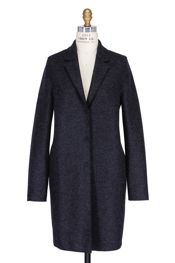 Harris Wharf Anthracite Wool Cocoon Coat