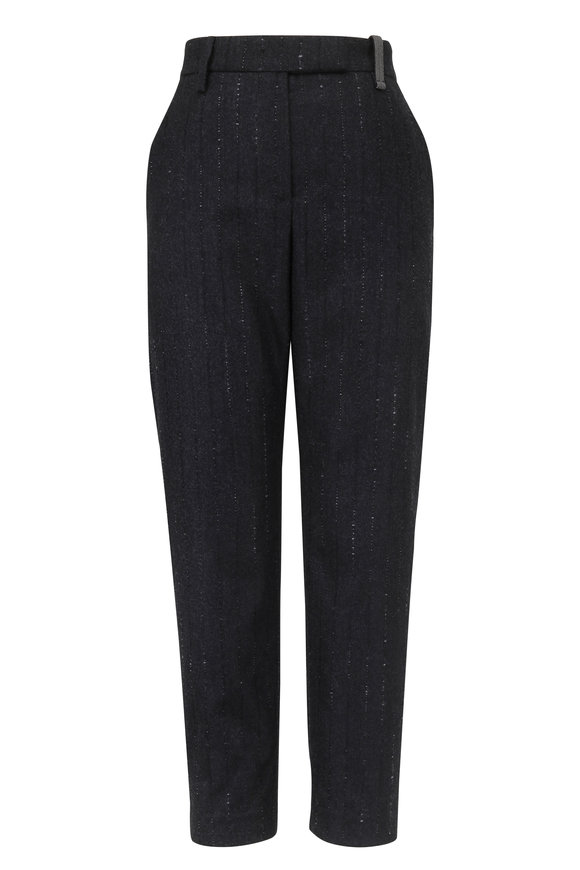 Brunello Cucinelli Charcoal Gray Wool Pinstriped Ankle Pant