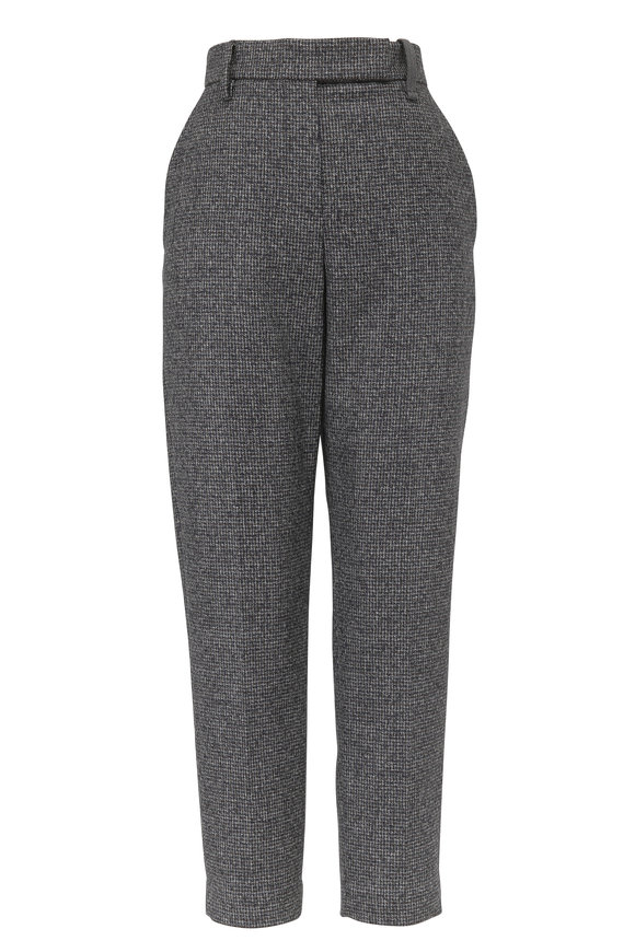 Brunello Cucinelli Navy & Brown Wool Houndstooth Ankle Pant