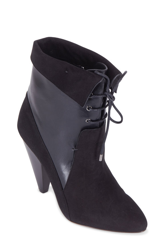Veronica Beard Hawthorne Black Suede & Calf Lace-Up Bootie, 100mm