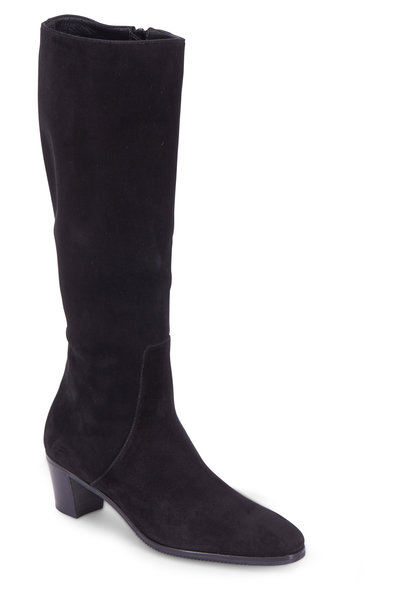 Gravati - Black Suede Tall Boot, 50mm