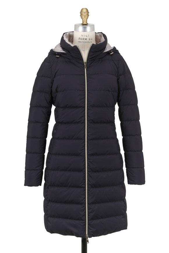 Herno Navy Quilted Reversible Hooded Coat
