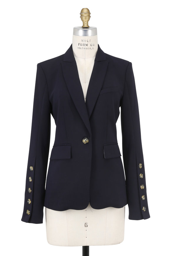 Veronica Beard Steele Cutaway Dark Blue Button Cuff Jacket