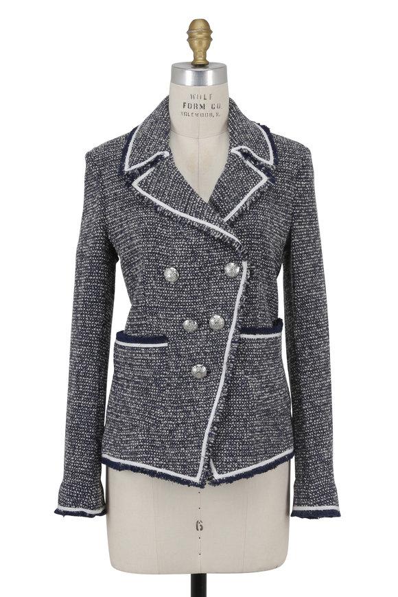 Veronica Beard Carroll Grey & Blue Bouclé Double-Breasted Jacket