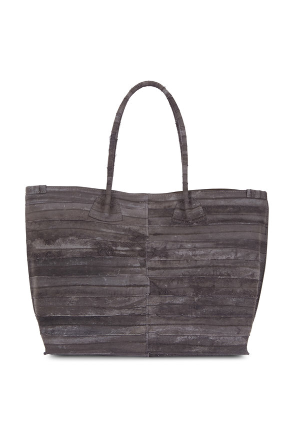 B May Bags Anthracite Reverse Eel Large Market Tote