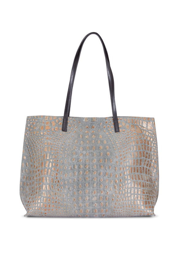 B May Bags Mossy Bronze Embossed Croc Classic Shopper