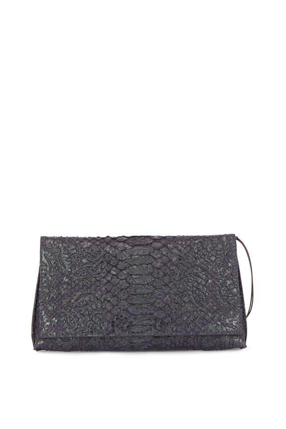 B May Bags Cleo Premium Python Foldover Clutch