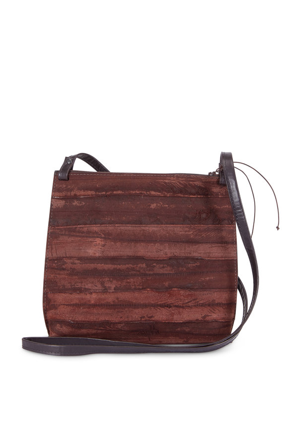 B May Bags Espresso Reverse Eel Large Strappy Pouch