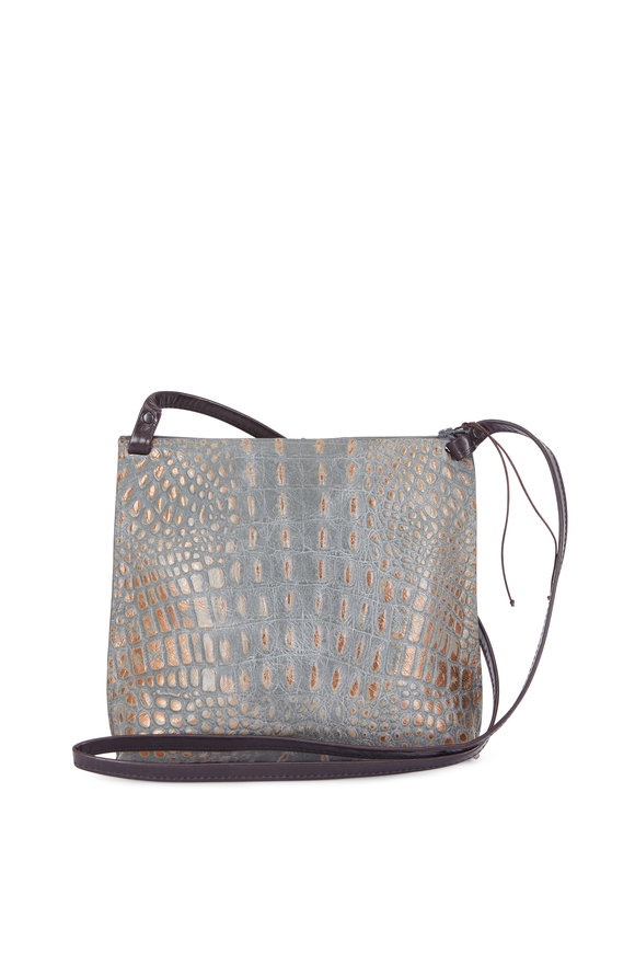 B May Bags Mossy Bronze Embossed Croc Large Strappy Pouch