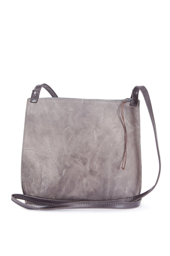 B May Bags Gray Rumpled Sheepskin Large Strappy Pouch