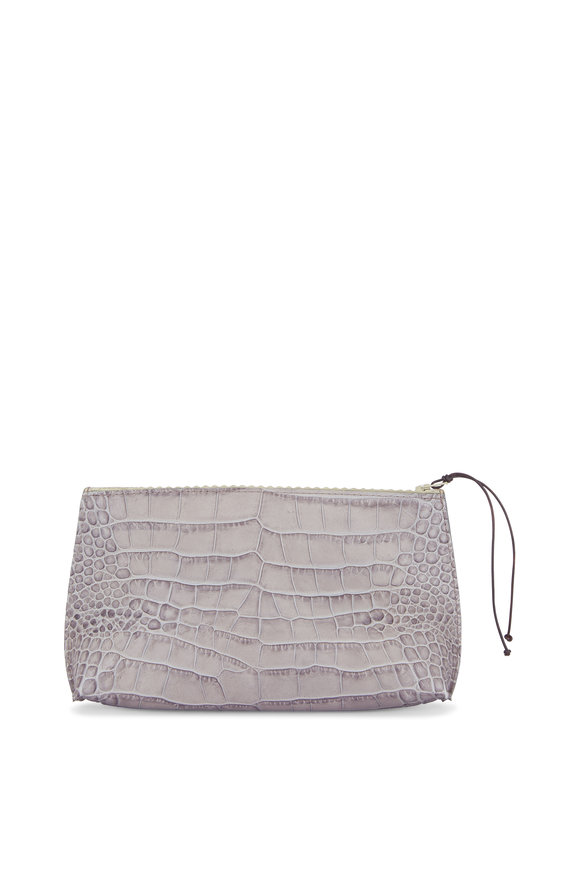 B May Bags Grey Embossed Gator Essential Pouch
