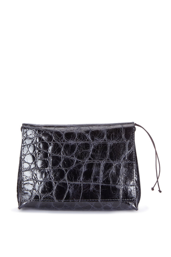 B May Bags Raven Embossed Maxi Gator Strappy Foldover