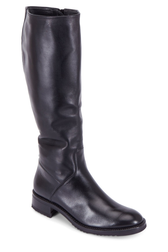 Gravati Black Leather Riding Boot