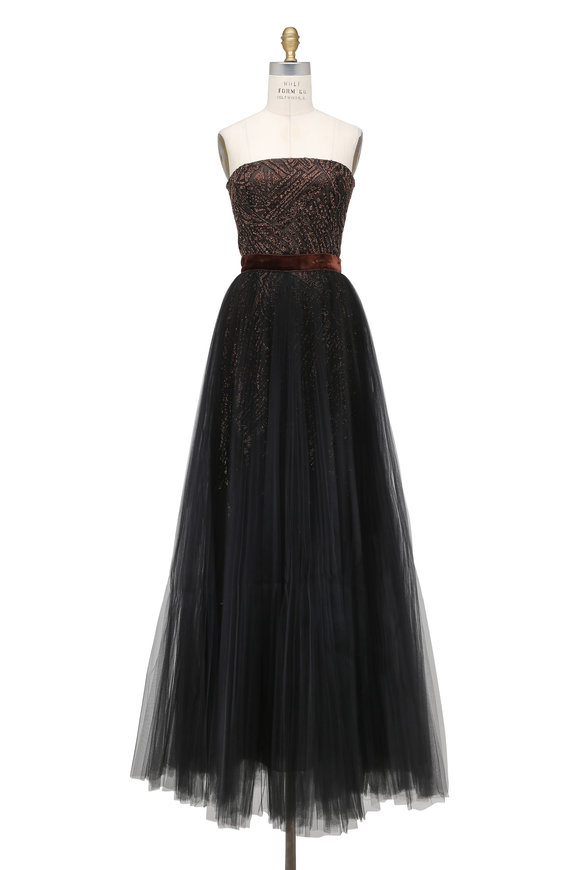 J. Mendel Noir & Copper Chevron Embroidered Strapless Gown