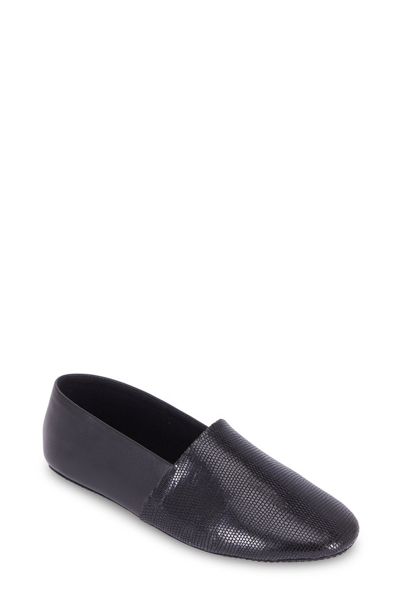 Newbark Jack Black Lizard Embossed Leather Slip-On Flat