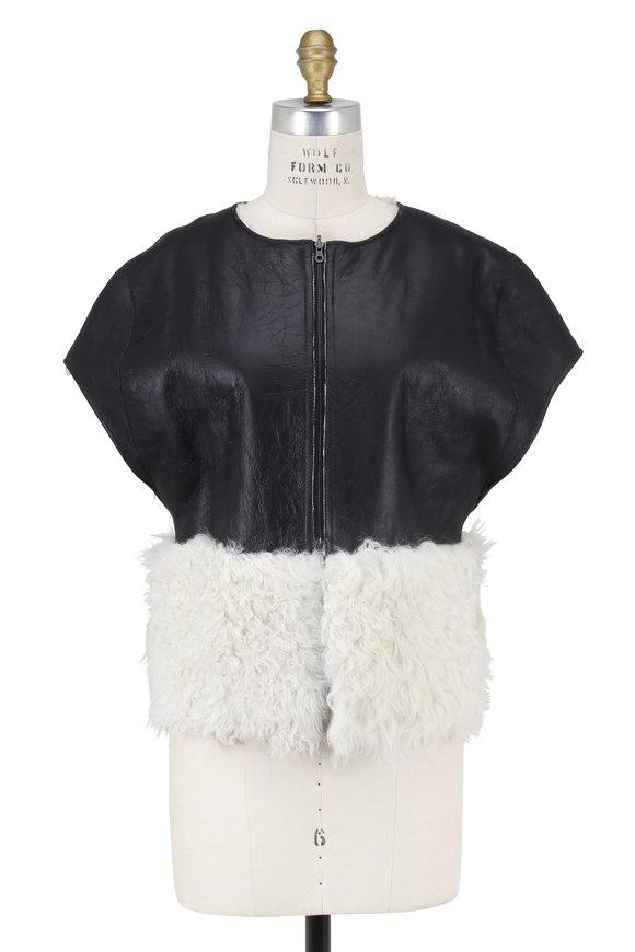 Partow Josephine White Shearling Cap Sleeve Jacket