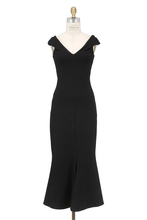 Rosetta Getty Black Stretch V-Neck Fluted Hem Gown