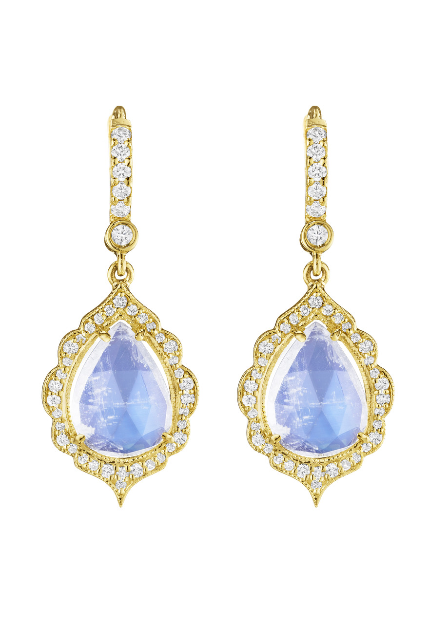 Gold Diamond Moonstone Earrings