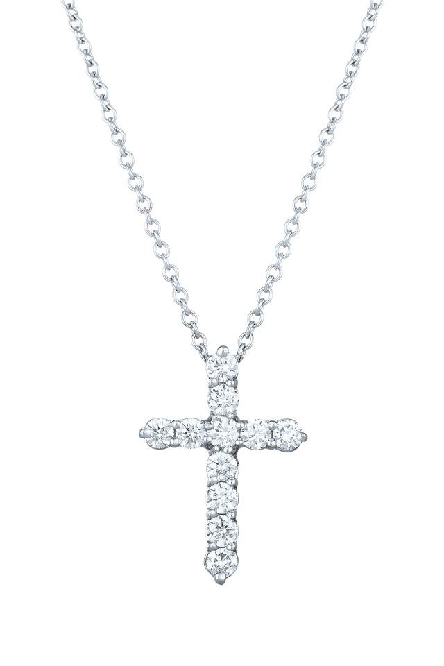 White Gold Faith Cross Diamond Pendant Necklace