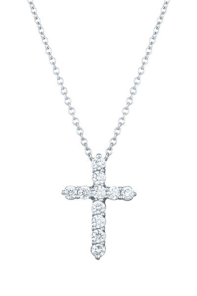 Kwiat - White Gold Faith Cross Diamond Pendant Necklace