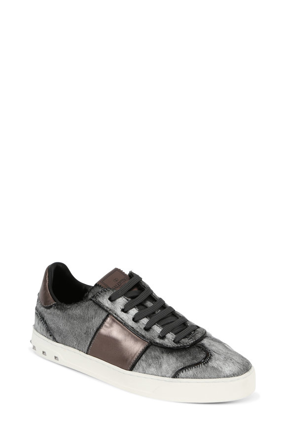 Valentino Rockstud Gunmetal Silver Calf Hair Sneaker