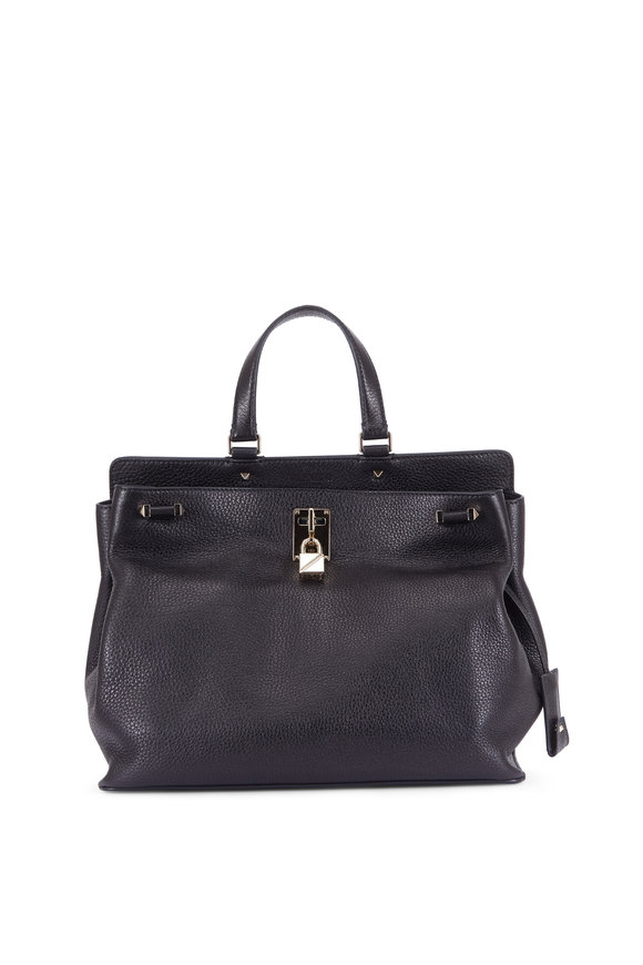 Valentino Joy Luck Black Leather Top Handle Bag