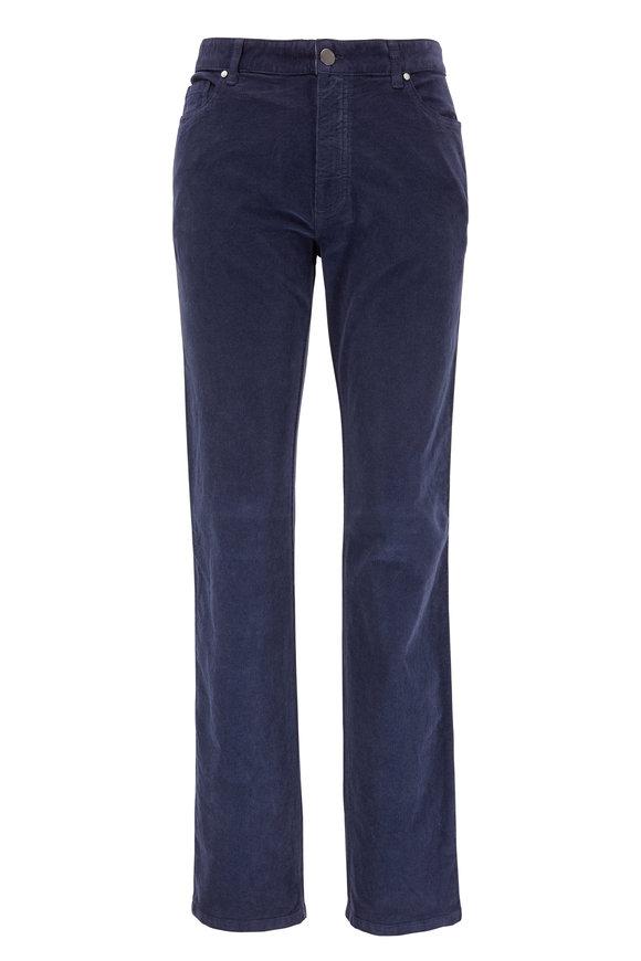 Ermenegildo Zegna Navy Blue Corduroy Five Pocket Pant