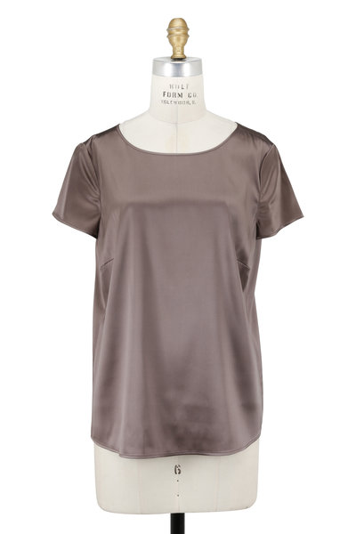 Emporio Armani - Taupe Stretch Silk Short Sleeve Blouse