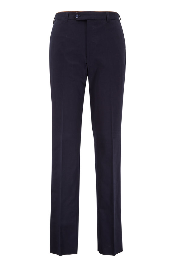 Luciano Barbera Navy Blue Cotton Faille Pant