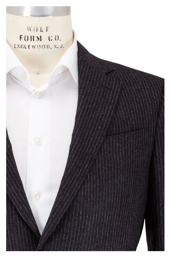 Ermenegildo Zegna Dark Gray Soft Striped Wool Suit