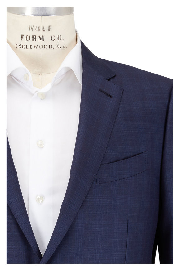 Ermenegildo Zegna Solid Navy Blue Wool Suit