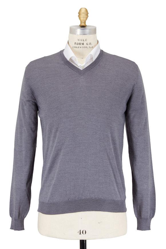 Zanone Light Gray Flexwool V-Neck Sweater