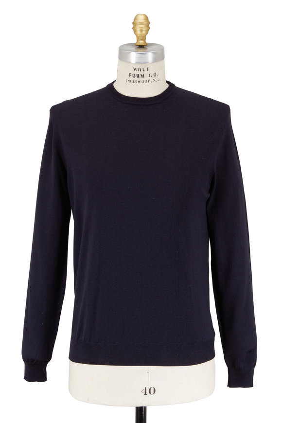 Zanone Navy Blue Flexwool Crewneck Sweater